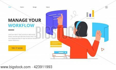 Business Woman Interacting To Workflow Operations. Manage Your Workflow Concept. Workforce Process O