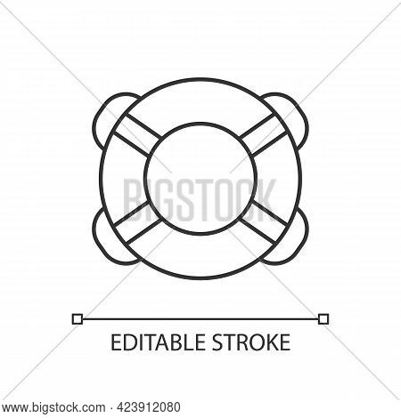 Ring Buoy Linear Icon. Life Preserver. Round Floatation Device. Assisting Beginner Swimmer. Thin Lin