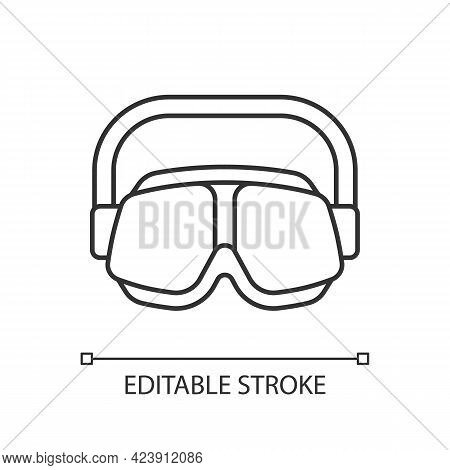 Swimming Goggles Linear Icon. Eyes Protection In Swimming Pool. Watertight Equipment. Thin Line Cust