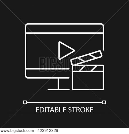Watching Tv White Linear Icon For Dark Theme. Television Show Broadcast. Movie On Screen. Thin Line