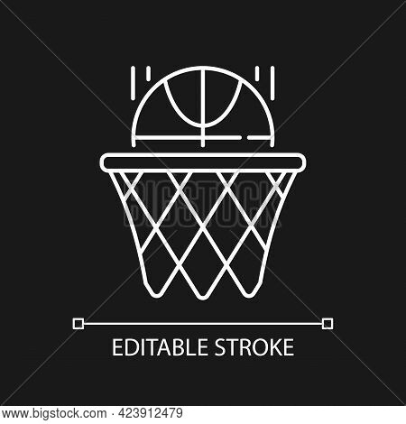 Basketball White Linear Icon For Dark Theme. Team Sport For Exercise. Score Goal With Ball In Hoop.