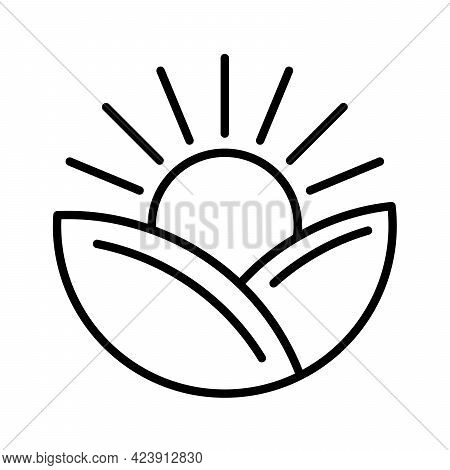 Sunrise Icon. Sunrise Over Leaves. Linear Conceptual Icon. Vector Illustration. Black Linear Eco Ico