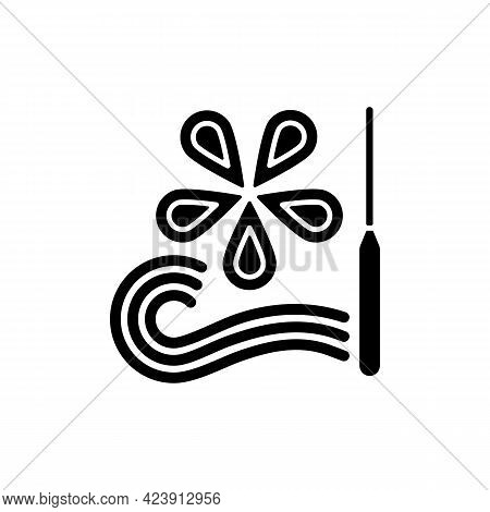Paper Quilling Black Glyph Icon. Creating Decorative Designs. Using Slotted Tool. Rolling And Gluing