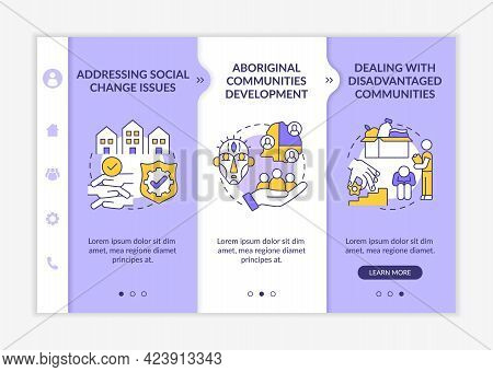Social Unit Development Targets Onboarding Vector Template. Responsive Mobile Website With Icons. We