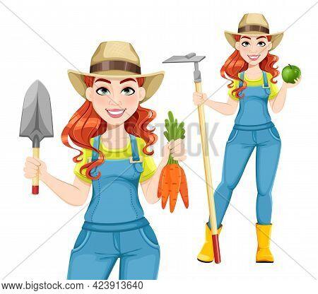 Beautiful Woman Farmer, Set Of Two Poses. Cute Girl Farmer Cartoon Character. Stock Vector Illustrat