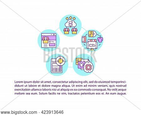 Marketplaces And Social Networks Concept Line Icons With Text. Ppt Page Vector Template With Copy Sp