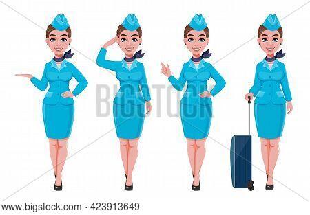 Stewardess In Blue Uniform, Set Of Four Poses. Beautiful Woman Stewardess Cartoon Character In Profe