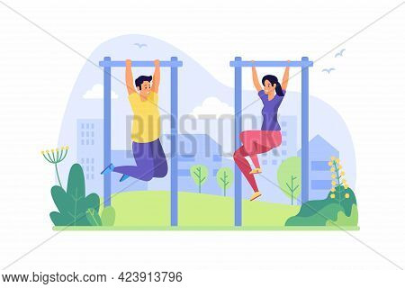 People Pull Up On Horizontal Bar. Teenagers Warm Up On Bar In Outdoor. Fitness Classes And Fun Gymna