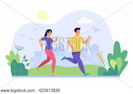 People Jogging In Morning. Young Man And Woman Run Through City Park. Active Wellness Cardio Fitness
