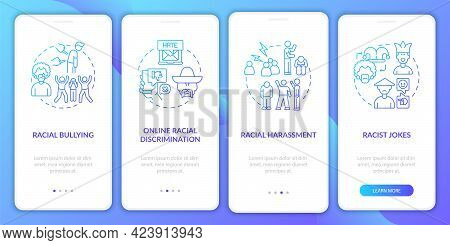 Racial Inequality Onboarding Mobile App Page Screen. Online Discrimination Walkthrough 4 Steps Graph