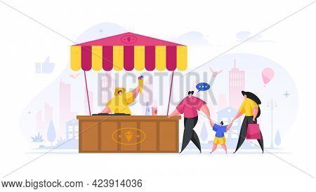 People Buy Ice Cream At Street Kiosk Flat Illustration. Family Man And Woman Approaches Stall Red Ye