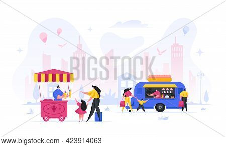People Buying Food Street Fair Vector Concept. Woman And Child Order Cone Colored Ice Cream From Sel
