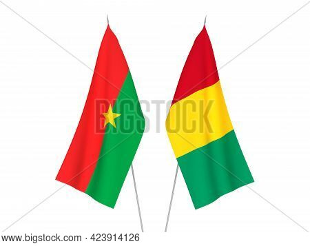 National Fabric Flags Of Guinea And Burkina Faso Isolated On White Background. 3d Rendering Illustra