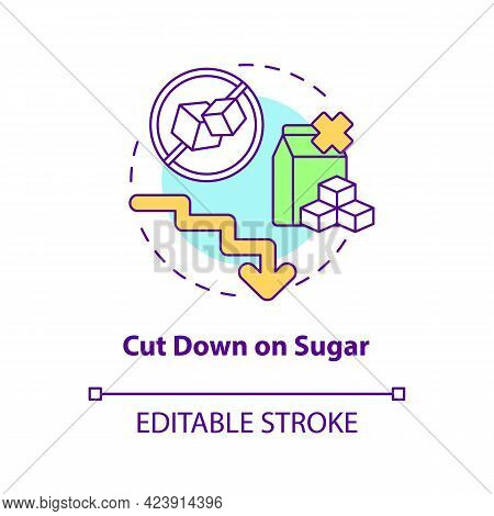 Cut Down On Sugar Concept Icon. Decrease Amoun Of Sugar During Day. Health Problems. Not Eating Swee
