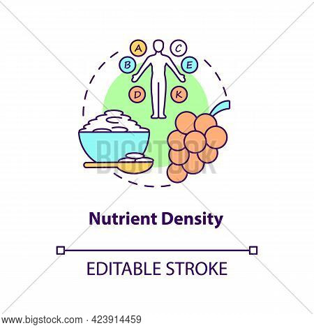 Nutrient Density Concept Icon. Amount Of Nutritions Included In Food. Quality Of Meals. Healthy Eati