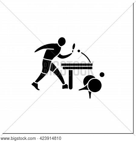 Table Tennis Glyph Icon. Ping-pong. Players Hit Lightweight Ball, Using Small Racket. Athletic Compe