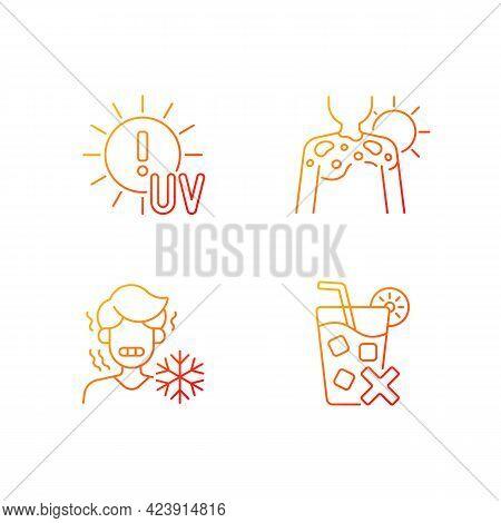 Sunburn Risk Gradient Linear Vector Icons Set. Uv Rays Exposure Risk. Fluid Filled Blisters On Skin