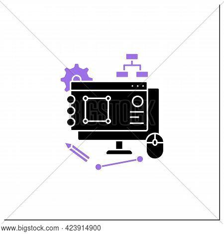 Software Design Glyph Icon. Low-level Components Descriptions, Algorithms, And Architecture Overview