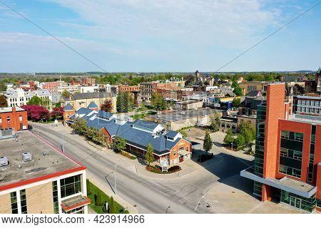 Woodstock, Ontario/canada- May 25: An Aerial Of Market Building In Woodstock, Ontario, Canada On [ma