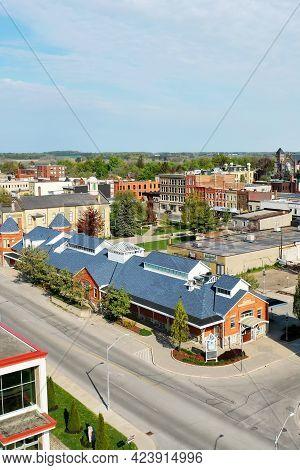 Woodstock, Ontario/canada- May 25: An Aerial Vertical Of Market Building In Woodstock, Ontario, Cana
