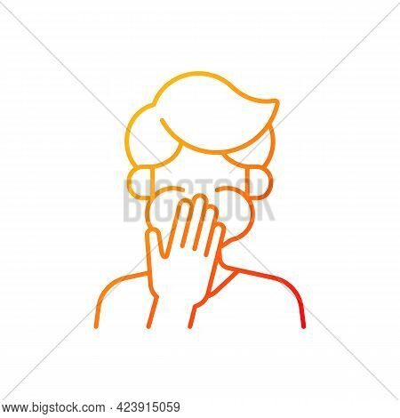 Nausea Gradient Linear Vector Icon. Sick Person Covering Mouth. Ill Man With Stomachache Ready To Th