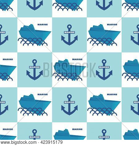 Anchors, Paper Boat. Marine Wave Background. Vector Geometric Template. Seamless Pattern For Textile