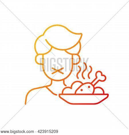 Loss Of Appetite Gradient Linear Vector Icon. Restriction In Food. Symptom Of Heatstroke. Man Refuse