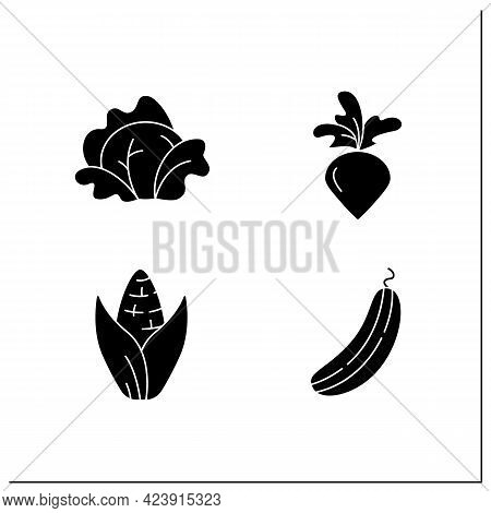 Vegetables Glyph Icons Set. Edible Plant. Vegetarian, Healthy Nutrition. Cabbage And Sweet Corn, Cuc