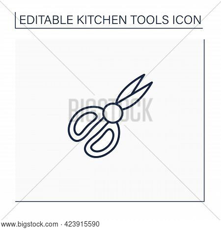 Shears Line Icon. Food Preparation Equipment. Cutting Products. Cooking Utensils. Kitchen Tools Conc