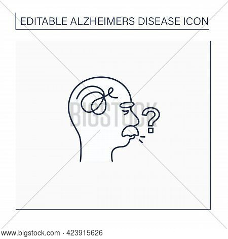 Speaking Problems Line Icon.difficulties With Pronunciation, Spelling Sounds. Alzheimer Disease. Neu