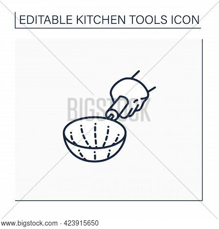 Strainer Line Icon. Basket-shaped Strainer. Kitchen Utensil With A Lot Of Holes. Separate Liquid Fro