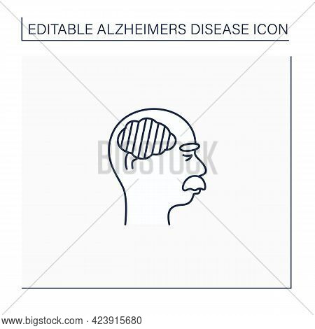 Severe Alzheimer Disease Line Icon. Inability To Communicate. Neurologic Disorder Concept.isolated V