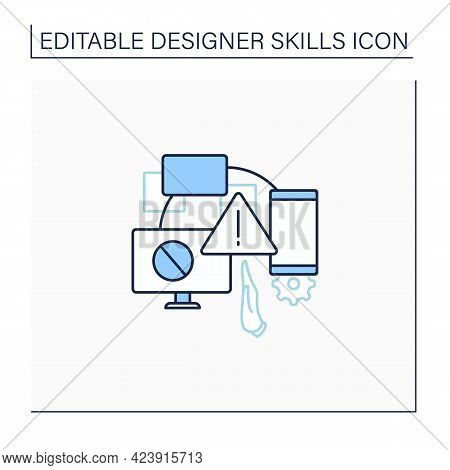 Limitations Line Icon. Limit Actions On Devices. Difficulties In Design. Warning Sign.designer Skill