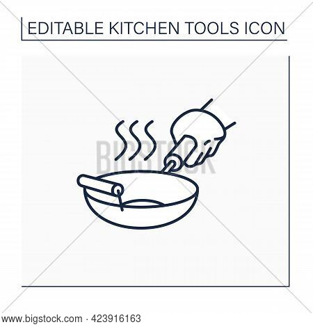 Wok Line Icon. Kitchenware. Round Bottomed Cooking Pot. Used In Chinese Cuisine. Kitchen Tools Conce