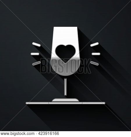 Silver Wine Glass Icon Isolated On Black Background. Wineglass Sign. Favorite Wine. Long Shadow Styl