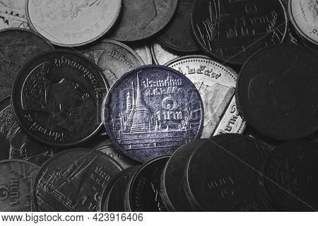 Thailand Baht Coin For Currency Exchange Saving And Investment Concept.