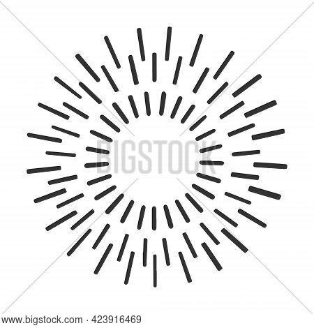 Sunbeam Sun Rays Line Art Sketch Engraving Vector Illustration. T-shirt Apparel Print Design. Scratc