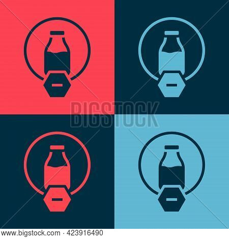 Pop Art Lactose Free Icon Isolated On Color Background. Vector
