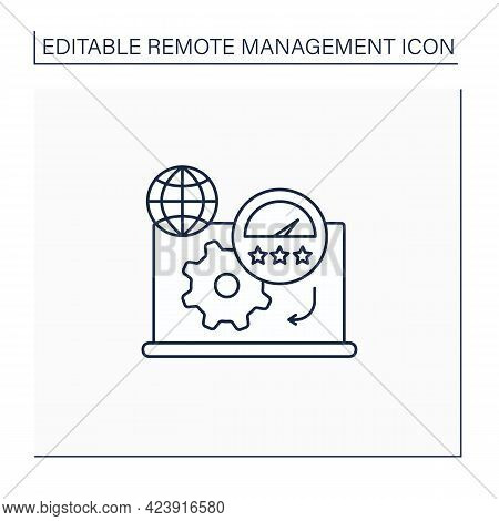 Productivity Standards Line Icon. Overload Work Productivity. Growth And Profitability. Remote Manag