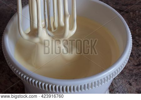 Biscuit Dough Whipped With A Mixer, Ready For Baking. The Dough Does Not Fall Off The Shoulder Blade