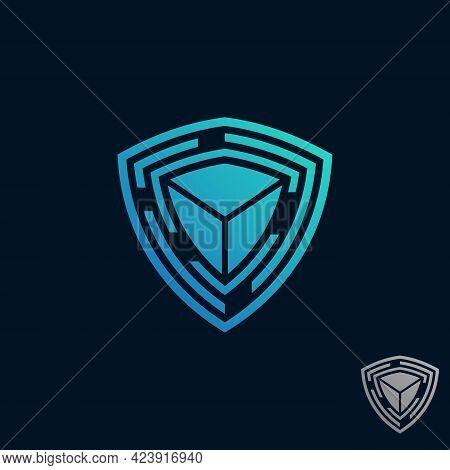 Secure Tech Design Symbol. Shield Guard Tech Icon Vector Design Stock. Protection Tech Symbol Indust