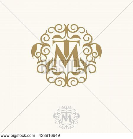 Initial Tm Letter With Floral For Your Best Business Symbol. Vector Illustration Eps.8 Eps.10