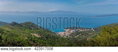 Panorama Of City Drvenik, Peninsula Peljesac And Island Hvar In The Background.view From Rilic Mount