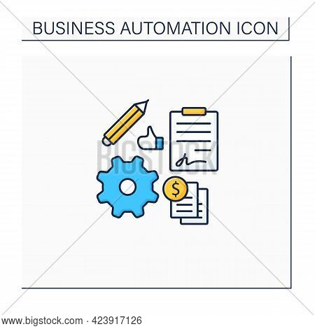 Automation Contract Management Color Icon. Streamline Admin Tasks. Reduce Business Overheads. Online