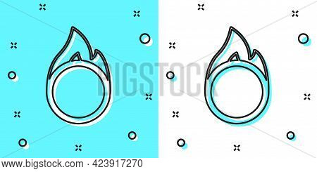 Black Line Circus Fire Hoop Icon Isolated On Green And White Background. Ring Of Fire Flame. Round F