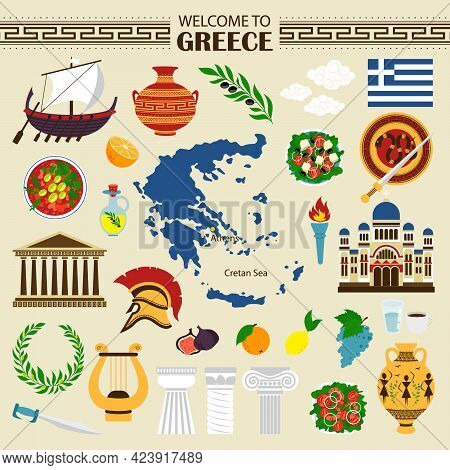 Greece Flat Icons. Welcome To Greece Travel Collection. Greek Themed Objects Isolated On White Backg