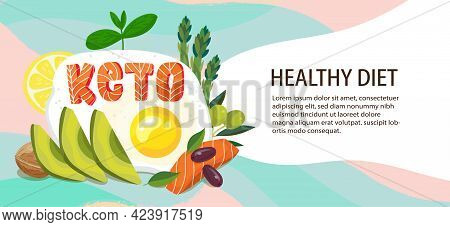 Keto Diet Banner Template. Ketogenic Healthy Fat Foods With Place For Text. Fried Egg, Avocado, Salm