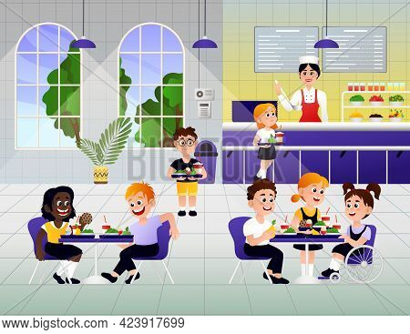 Cartoon Kids Eating Breakfast At School. A Vector Illustration Of Elementary Students Eating Lunch I