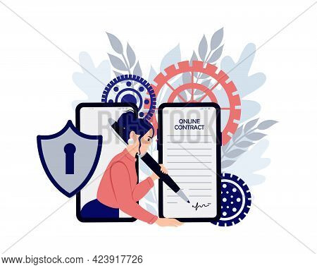 Electronic Contract Or Digital Signature Concept. Digital Signature, Business Contract, Electronic C