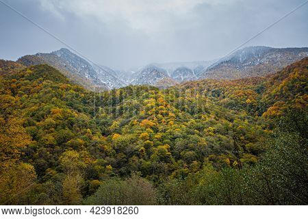 Mountains Of The North Caucasus Autumn-winter Time Period. Cloudy Weather Overcast. Landscape